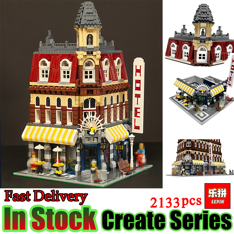 Lepin 15002 2133Pcs City series Cafe Corner Model Building Kits Blocks Gift brinquedos Compatible 10182 Educational Toys lepin 02012 city deepwater exploration vessel 60095 building blocks policeman toys children compatible with lego gift kid sets