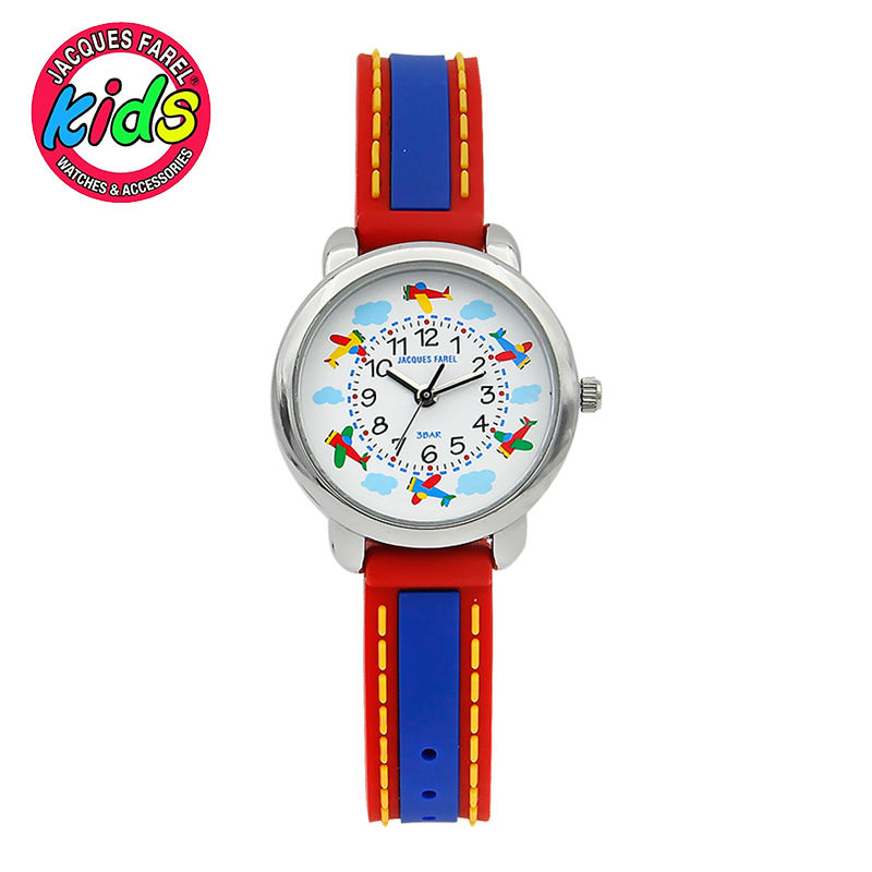 JACQUES FAREL Kids Children watches fashion cute simple waterproof Quartz Wristwatches fly red  clock fashion brand children quartz watch waterproof jelly kids watches for boys girls students cute wrist watches 2017 new clock kids