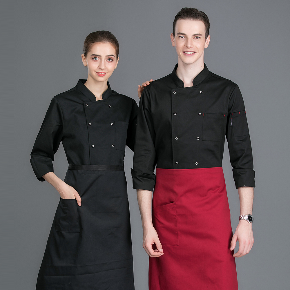 Classic Long Sleeves Double Breasted Chef Jacket Bakery Cafe Catering Kitchen Cook Clothes Chef Uniforms Waiter Coat Work Jacket