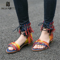 Prova Perfetto Retro Summer Women Gladiator Sandals Fringed Flat Beach Shoes Woman Lace Up Sandalias Mujer Ladies Casual Flats