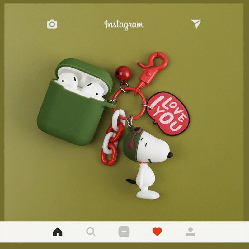 Super Cute Cartoon Doll Peanuts Dog keychain Earphone Case Silicone Cover For Apple Airpods Headphone Charging Box AccessoriesSuper Cute Cartoon Doll Peanuts Dog keychain Earphone Case Silicone Cover For Apple Airpods Headphone Charging Box Accessories