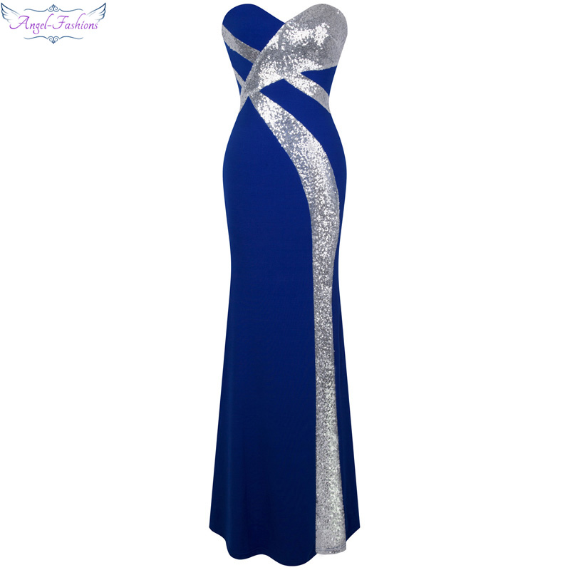 Long Prom Dress Angel-fashions Women's Strapless Criss-Cross Classic Mermaid Party Gown Blue White 331