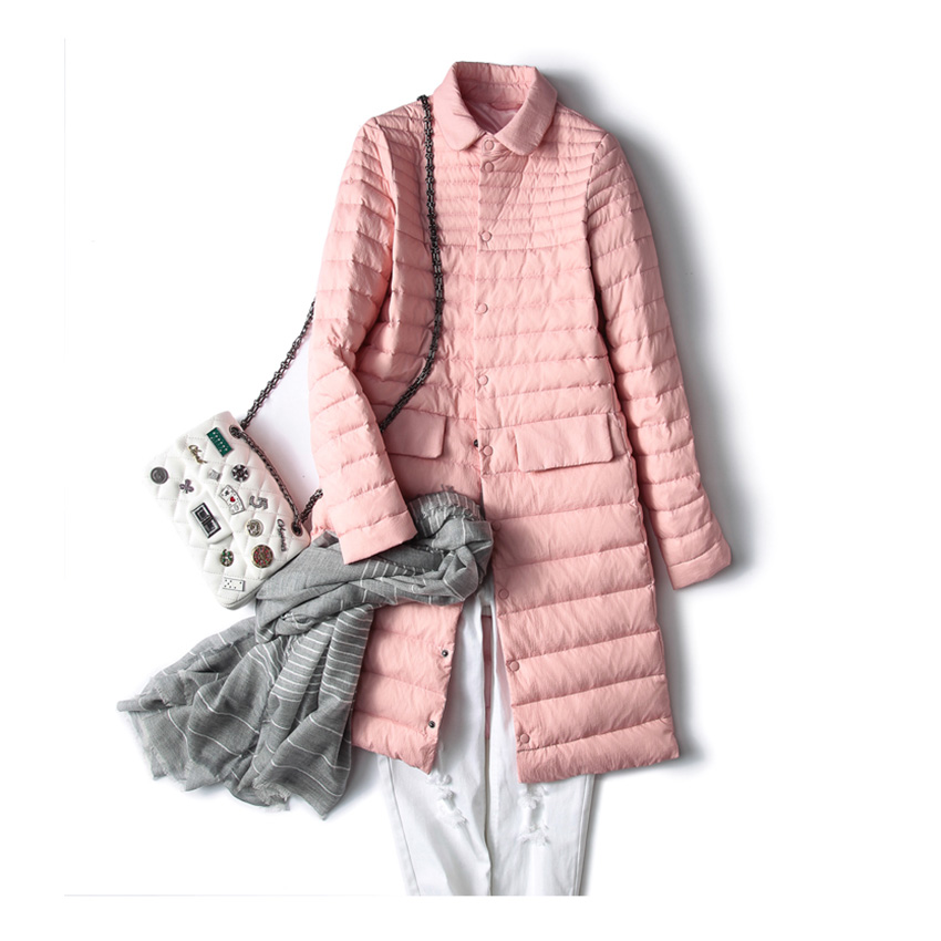 Новое осенне-зимнее Элегантное длинное теплое пальто для женщин ультра легкий 90% белый пуховик женский тонкий ветрозащитный Женский Верхня...