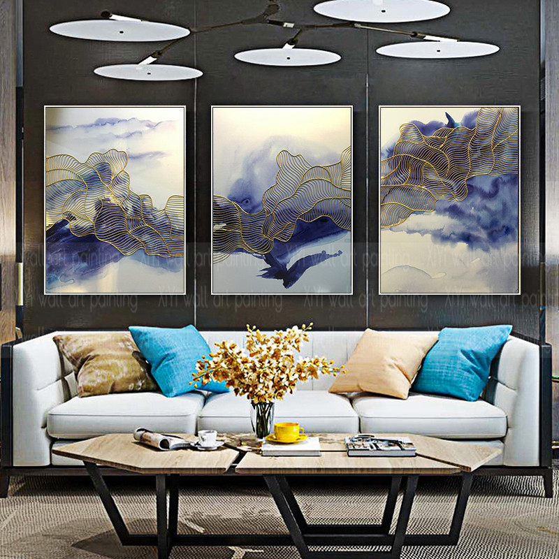 3 pieces gold line abstract canvas painting wall art ...