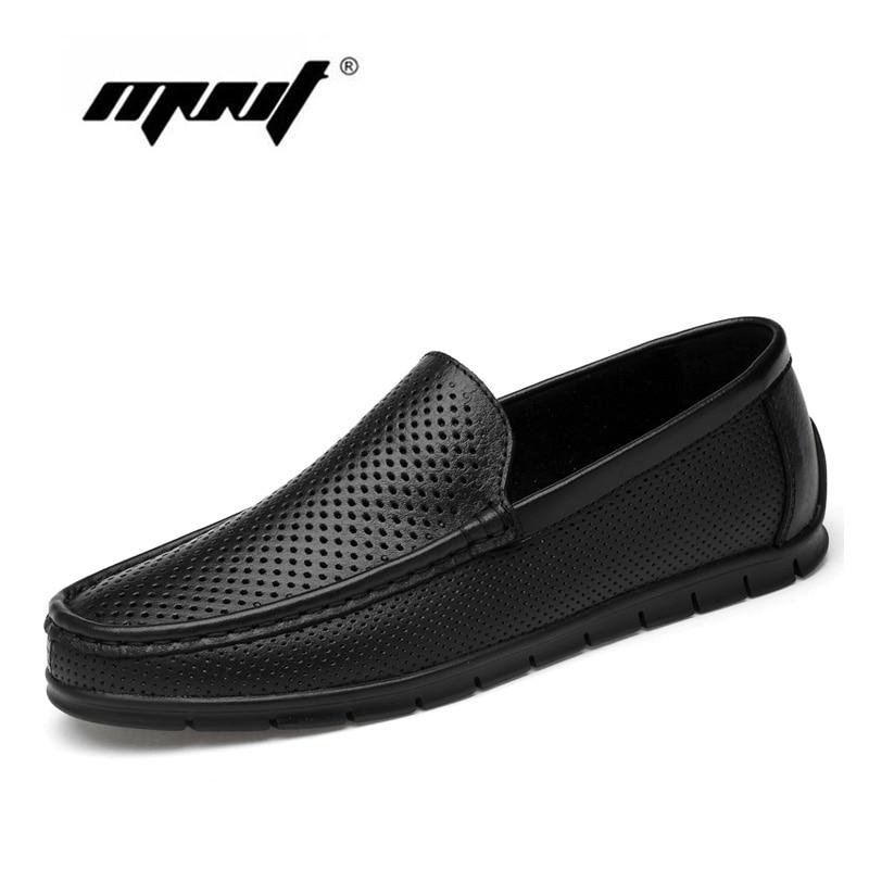 جديد أزياء الرجال الشقق أحذية جلد طبيعي عارضة الأحذية ثقوب تنفس متعطل القيادة الرجال أحذية دروبشيبينغ