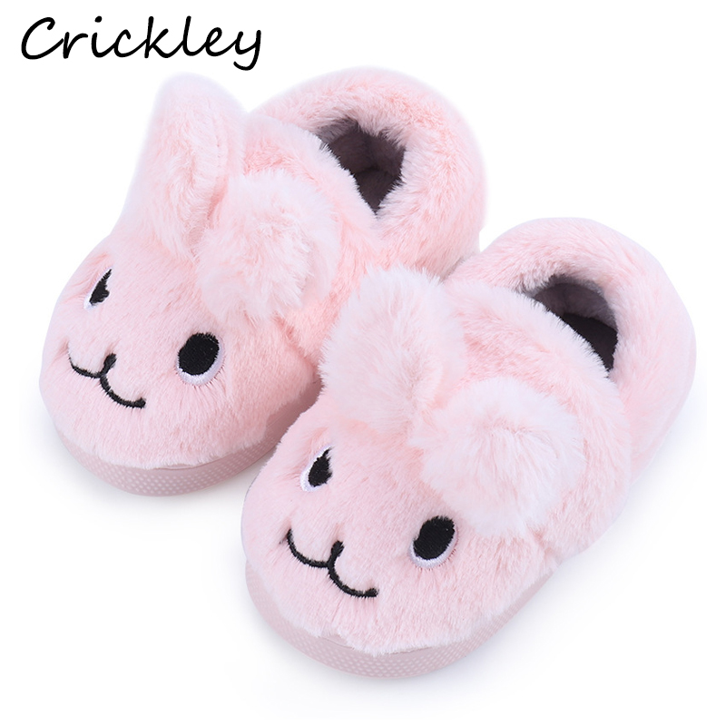Cartoon Slippers For Kids Boys Cute Bunny Fur Toddler Girls Slippers Winter Warm Non Slip Indoor Home Children's Shoes