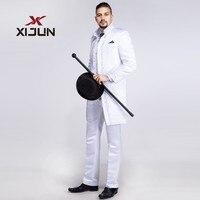 Xijun Klasik Beyaz Smokin Tailcoat Suit Erkekler Düğün Groomsmen Için Yüksek Boyun Adam 3 Parça Suit (Ceket + Pantolon + yelek) Nakış
