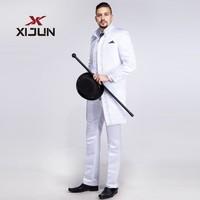 Xijun Classic White Tuxedo Tailcoat Suit For Men Wedding Groomsmen High Neck Man 3 Piece Suit (Jacket+Pants+Vest) Embroidery