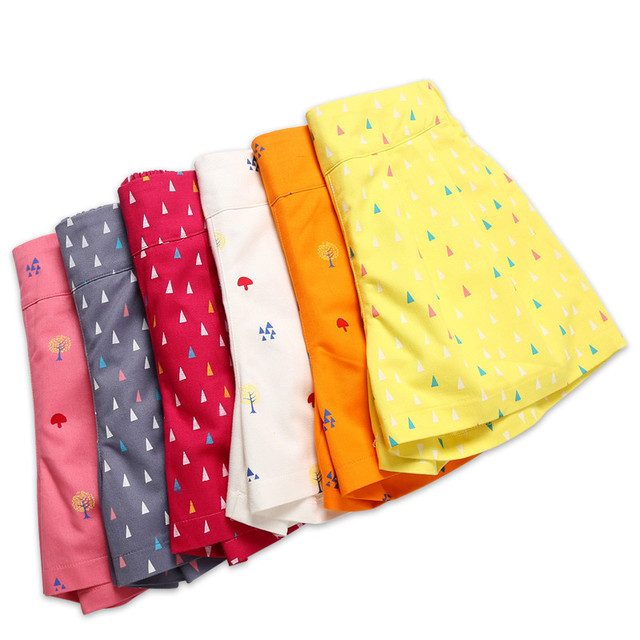 4 a 14 anos crianças e adolescentes meninas verão impressão geométrica doce doce cor algodão casual shorts menina moda curto bottoms