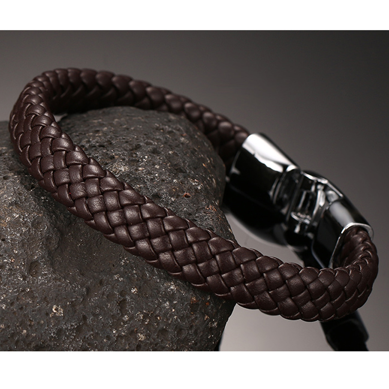 Stylish And Peaceful Woven Leather Bracelet in Black White Brown Braided Pulseira Braslet for Men Male Jewelry
