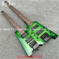 Free Shipping Double Neck Headless 4 Strings Electric Bass And 6 Strings Electric Guitar In Green
