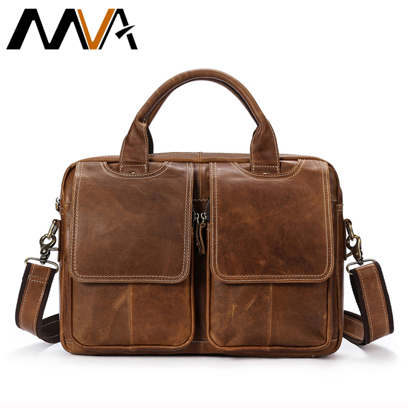 MVA Men's Genuine Leather bag Business Men bags male leather Laptop Tote Briefcases Men's Messenger Bag shoulder Crossbody bags mva business men briefcase handbags leather laptop bag men messenger bags genuine leather men bag male shoulder bags casual tote