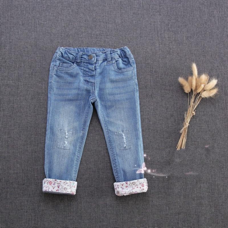 SHUZHI New Children's Clothes Casual Baby Girls Denim Pants Infant Flower Jeans Newborn Pencil Pants Tight Pants 9-24M