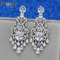 Top Quality White Gold Plated Clear White Micro Cubic Zircon Crystal Paved Long Big Dangle Evening Party Earrings For Women E240
