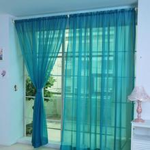 HOMEGD 1 PCS Pure Color Tulle Door Window Curtain Drape Panel Sheer Scarf Valances 18Apr7 Drop Ship cheap Gajjar Left Open Translucidus (Shading Rate 1 -40 ) Knitted Flat Window Ceiling Installation Excluded Voile Curtain Embroidered