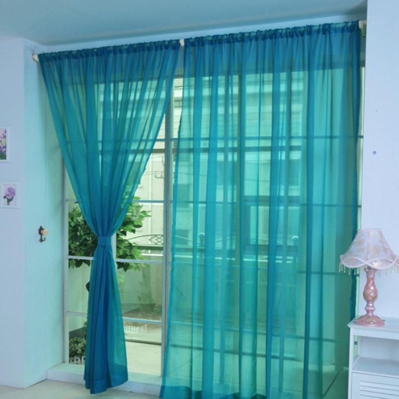 HOMEGD 1 PCS Pure Color Tulle Door Window Curtain Drape Panel Sheer Scarf Valances 18Apr7 Drop Ship
