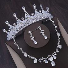 2019 Luxury Bridal Necklace Wedding Jewelry Sets for Brides Jewellery Tiara Crown Earrings Set Birthday Party Women Accessories gorgeous crystal bridal jewelry sets wedding necklace earring set for brides party accessories rhinestones decoration gift women