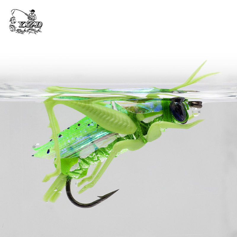 Grasshopper flies dry fly fishing flies 12pcs insect baits for Fly fishing lures