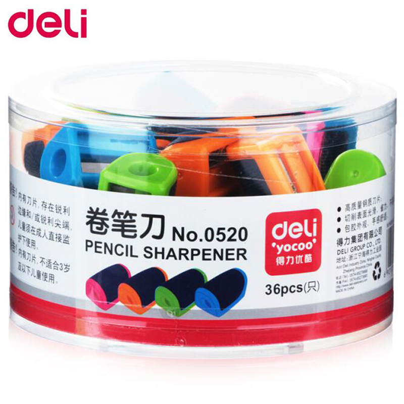 Deli 36pcs Pencil Sharpener Cute Student Stationary Kawaii Hand-operated Manual Sharpener School & Office Supplies 1 pcs deli 0611happy cartoon mechanical pencil sharpener light hand roll pencil sharpener wholesale office and school stationary