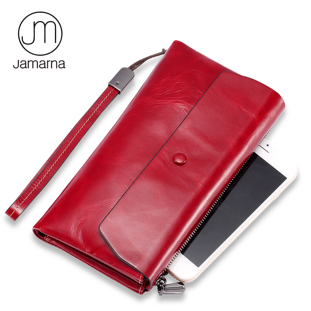 Jamarna Brand Genuine Leather Women Wallets Long Clutch Phone Bags Female Coin Purse Card Holder High Quality Wallet For Women nawo real genuine leather women wallets brand designer high quality 2017 coin card holder zipper long lady wallet purse clutch