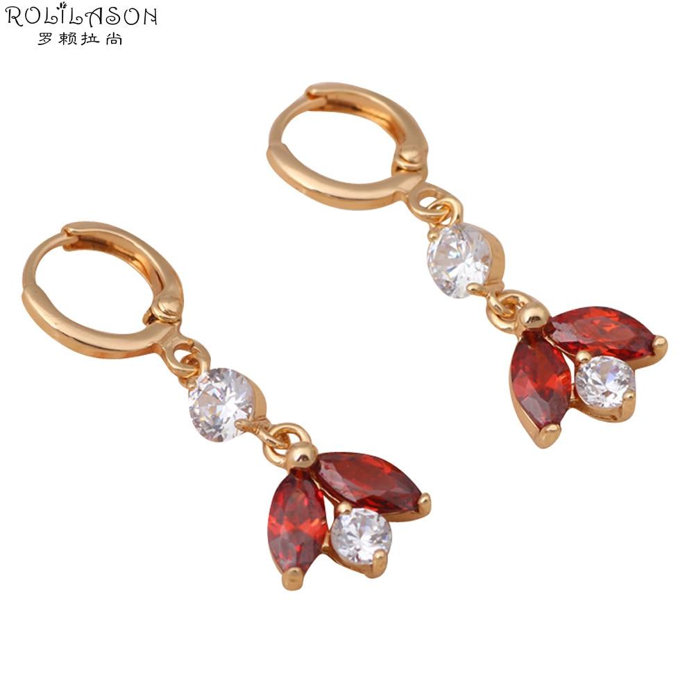 656ddc5e75d3 இROLILASON AAA zirconia pendientes de color dorado cristal rojo ...