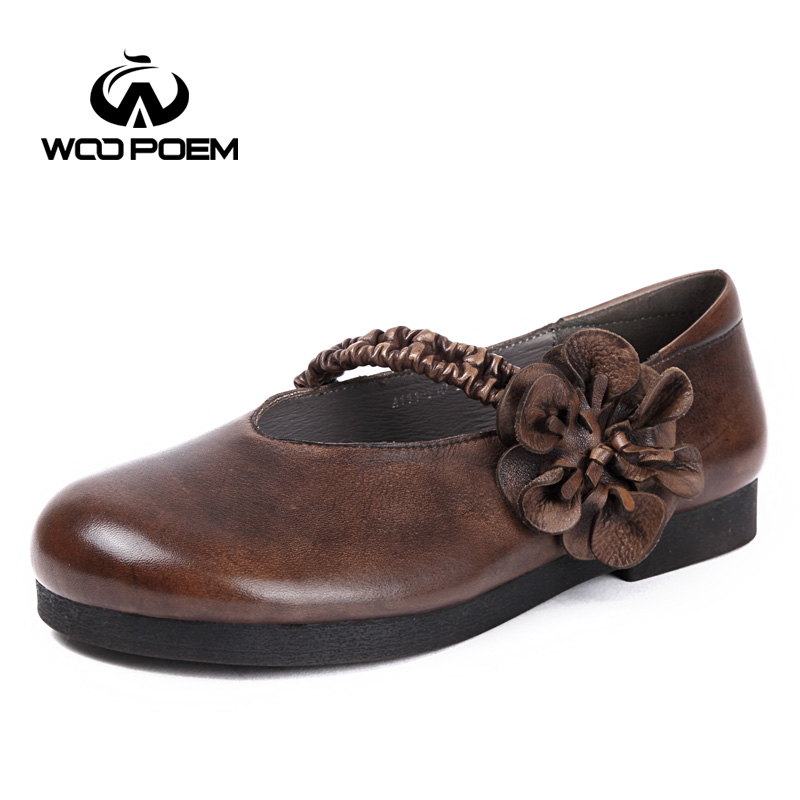 WooPoem Brand Mary Janes Shoes Woman Genuine Leather Flats Low Heel Soft Rubber Sole Retro Style Big Size 42 Women Shoes A111 woopoem brand 2017 new autumn shoes woman breathable genuine leather flats low heel soft sole fretwork casual women shoes 7761