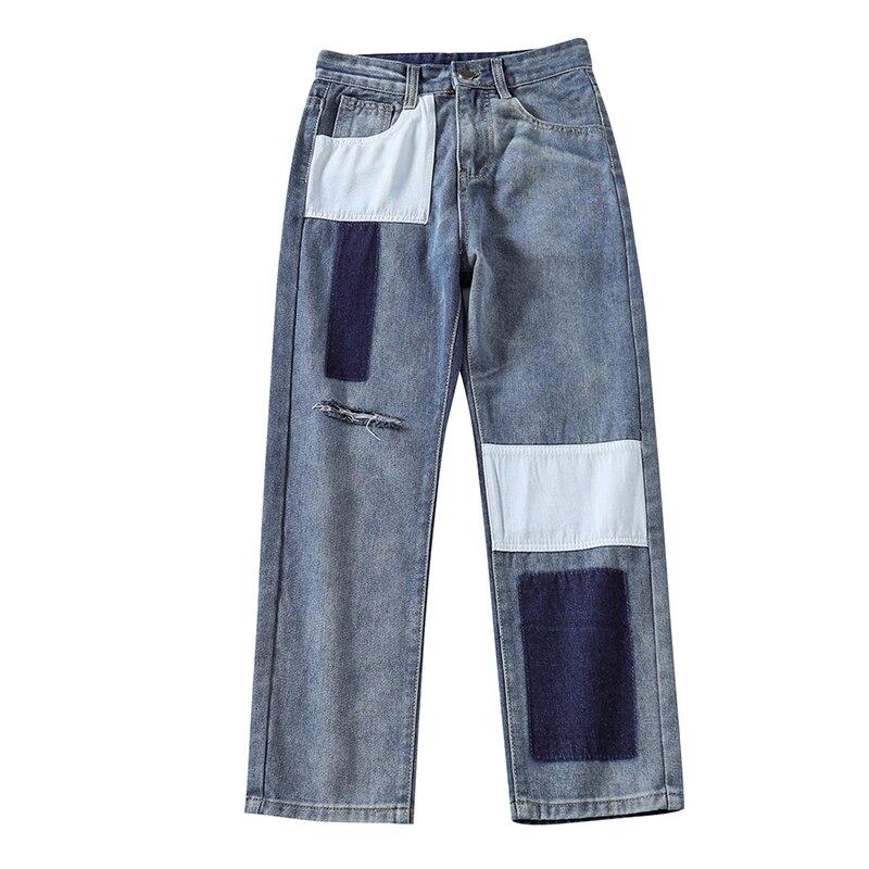 Streetwear Straight   Jeans   Woman Plus Size Ripped Patchwork Blue Boyfriend Mom   jeans   Ladies women   jeans   pants Denim   jeans   mujer