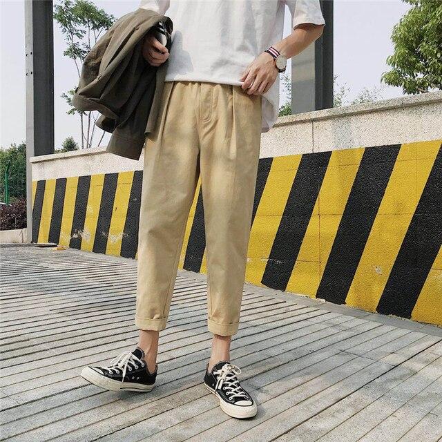 2b6d2272759 2018 Summer Korean Style Men s Fashion Trend Loose Casual Pants Elastic  Waist Cotton Black khaki Color Trousers Size M-2XL