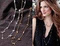 2016 мода марка стелла вдохновленный качество длинная цепь пальто ожерелье для женщин ренегат кластера вымощает шары ожерелье