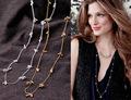 2016 Fashion Brand Stella Inspired Quality Long Chain Coat Necklace for Women Renegade Cluster Pave Balls Necklace