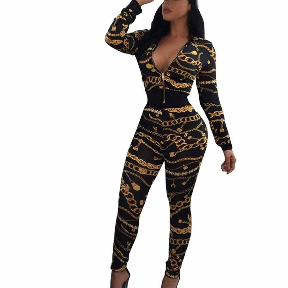 Women's Suit Sexy Print Suit Women's Fashion Tight Long-sleeved African Print V-neck Split 2 Piece Set Casual Wear Wholesale T3