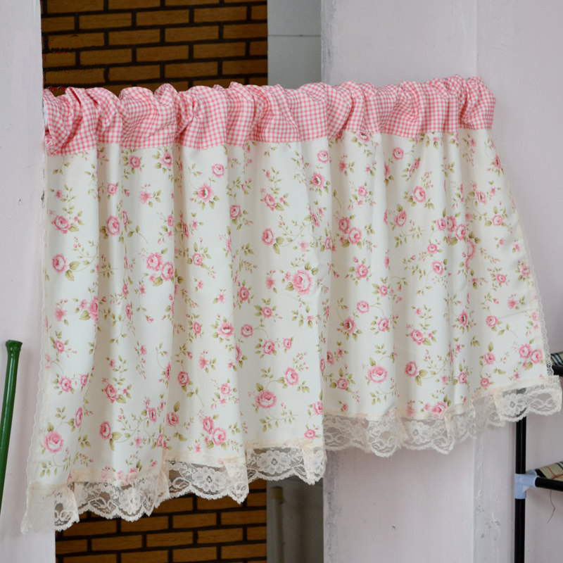 Short Curtains Valance Pelmet Printed Pink Floral Kitchen Curtains For Living Room Window Blinds Bedroom Door Window Treatments Curtains Aliexpress