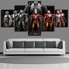 5 Pieces Canvas Painting The Movie Avengers Poster Modern Home Decor Wall Art Print Different Iron Man Pictures Framework