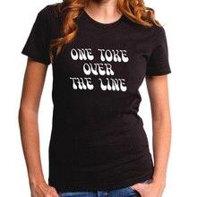 One Toke Over The Line Tshirt Femme Funny Letters T shirt Women Plus Size Tee Shirt Harajuku Punk Rock Street  Top Fashion