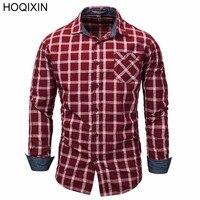 HOQIXIN New 2018 Fashion Men's Long Sleeve Plaid Dress Shirt Checks Shirt Casual Male Social Business Shirts 100% Cotton 151