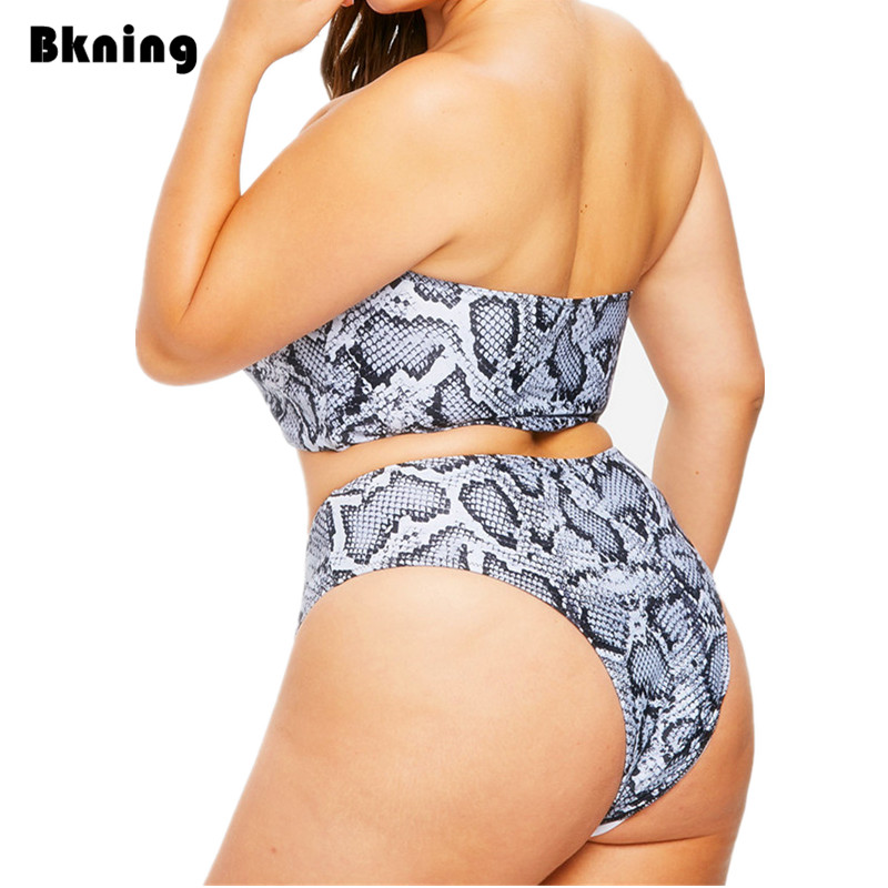 664037fe0a Bkning 3XL Plus Size Highwaiste Bikini Snake Print Swimsuit Women 2 Piece  Bathing Suit Large Mayo De Bain Femme Swim Strapless L-in Bikinis Set from  Sports ...