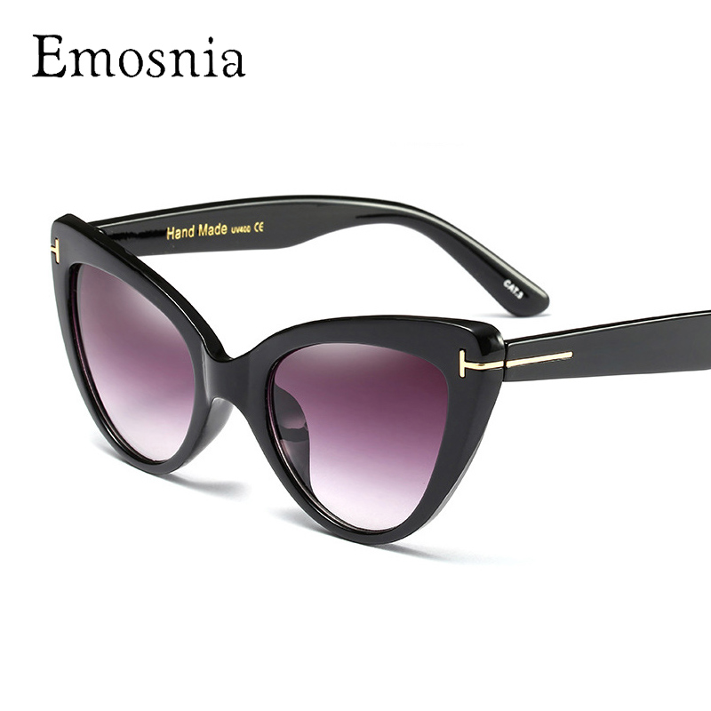 Emosnia 2017 New Cateye Sun Glasses Vintage Ladies Cat Eye Brand Sunglasses Women Printing Frame Oculos De Sol Feminino UV400