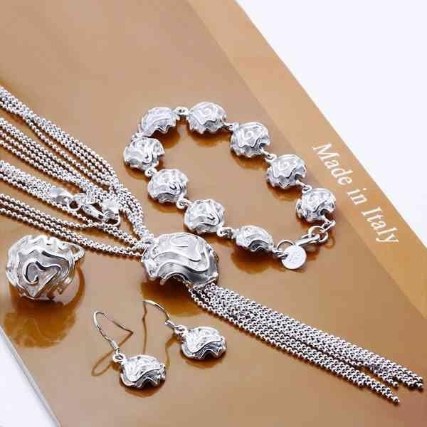 925 ювелирных изделий из серебра слой один цветок розы кисти браслет ожерелье крюк серьги кольцо S300