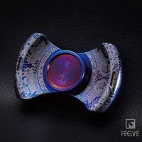 FEGVE MaYa Fidget Spinner Hand Spinner Metal Finger Torqbar Leopard Carving Grilled Blue Titanium Alloy EDC