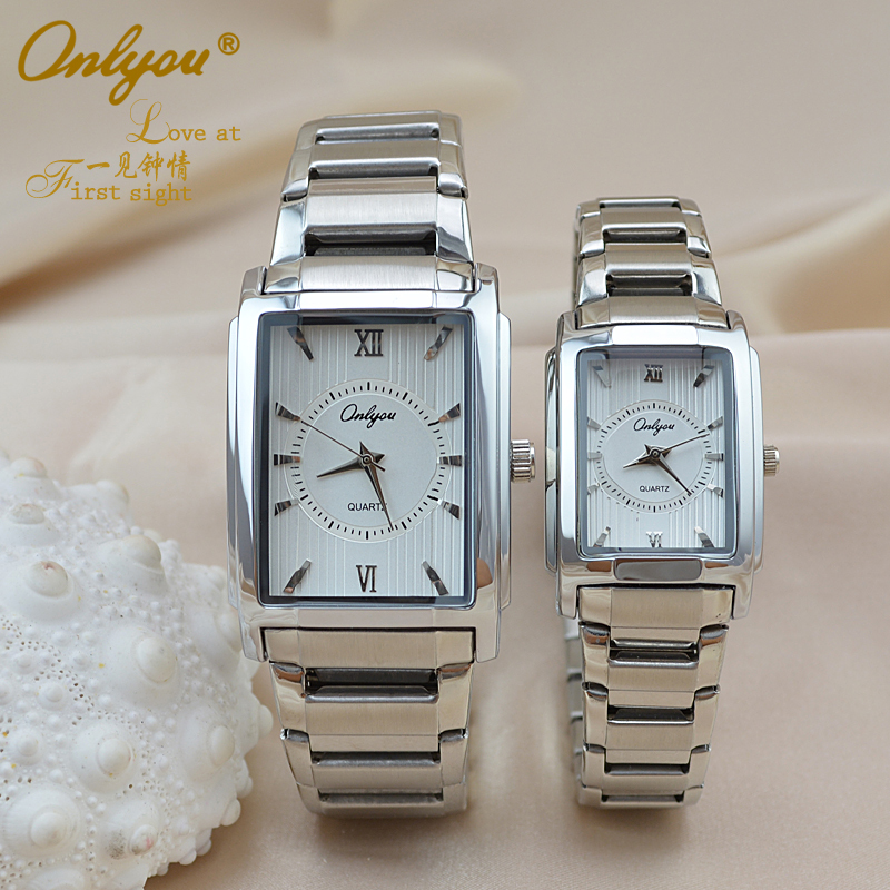 Wrist Watches for Women Men Rectangle Quartz Stainless Steel Ladies Dress Watch Gold Silver Straps Relogio Masculino 8809 onlyou brand luxury fashion watches women men quartz watch high quality stainless steel wristwatches ladies dress watch 8892
