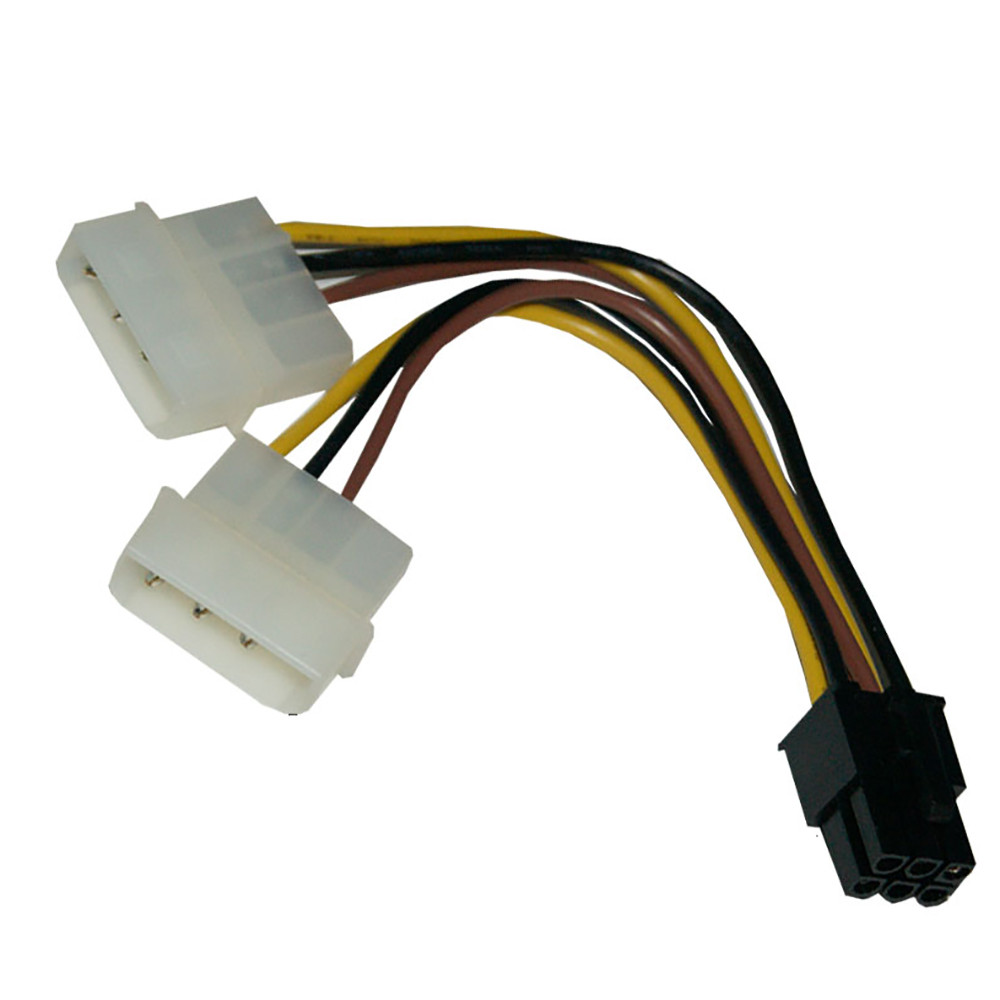 4 Pin Molex to 6 Pin PCI Express PCIE Video Card Power Converter ...