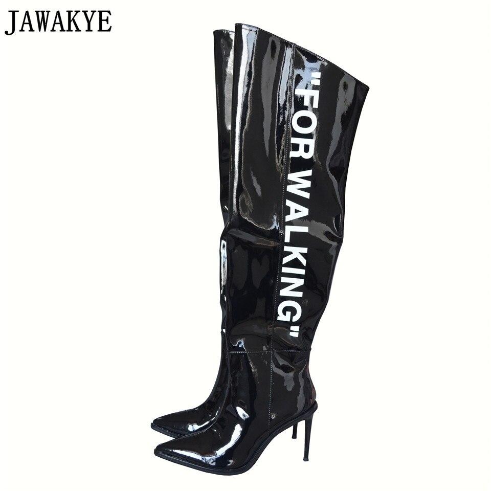 JAWAKYE Piste style d'hiver noir blanc Sur Le Genou Bottes mots imprimés mince haute talons cuissardes Bottes femmes botas feminina
