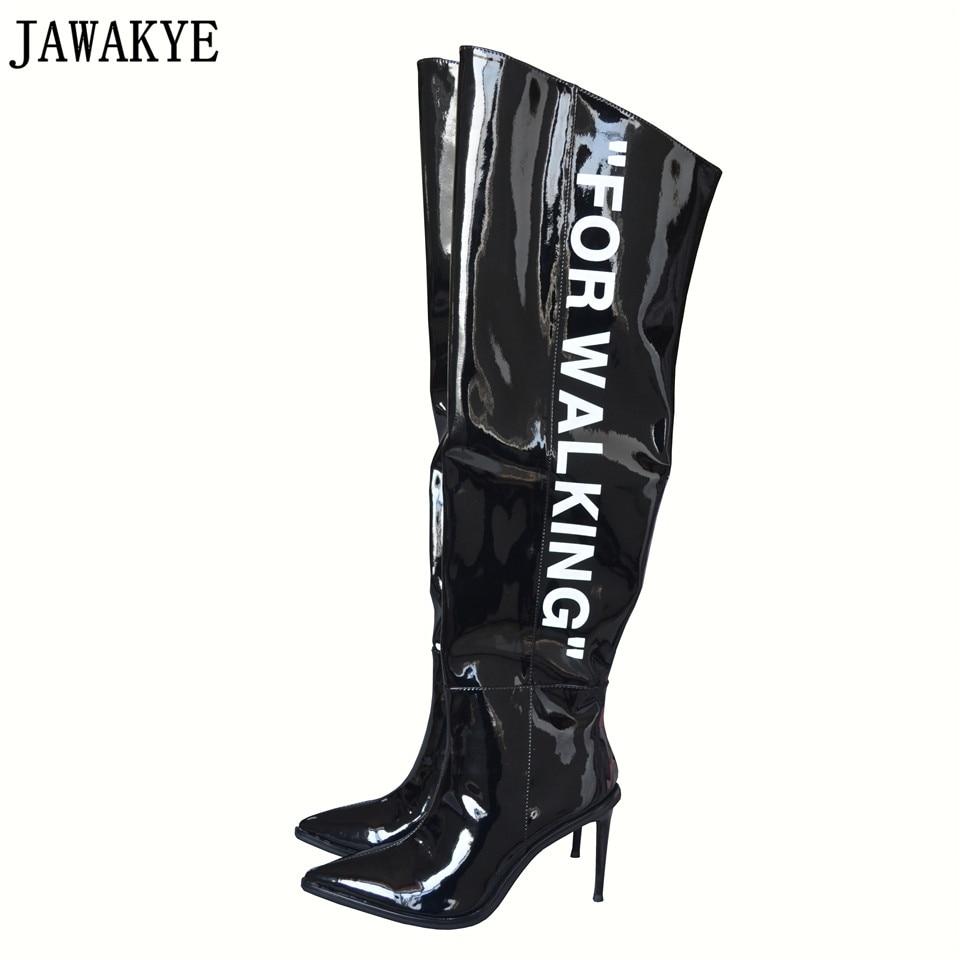 Jawakye взлетно-посадочной полосы стиль зимние черные белые сапоги выше колена Сапоги и ботинки для девочек печатного слова тонкий Обувь на вы...
