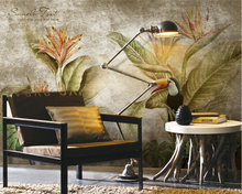 Купить с кэшбэком Beibehang Custom Wallpaper Scandinavian Retro Tropical Rainforest Sofa TV Backdrop Wall Decorative Mural 3D Wallpaper photo