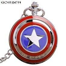 Captain America Quartz Pocket Watch Necklace For Women Men Star Silver Metal Case Flip Fob Chain Clock Pendant Children's Gift