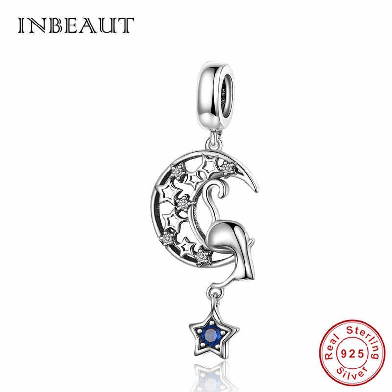 INBEAUT Plata de Ley 925 100% auténtica azul circonita estrella Luna gato sueño encantos lindo Animal travieso cuentas ajuste Pandora pulsera