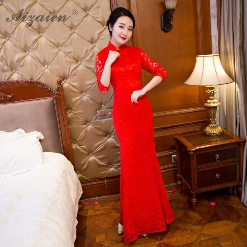 Red Mermaid Lace Long Cheongsam Modern Oriental Style Party Dresses Qi Pao Women Chinese Evening Dress Qipao Bride Marry Gown