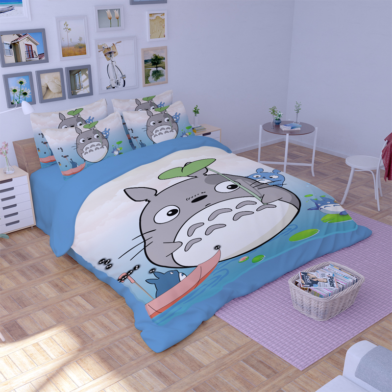 Japanese Anime My Neighbor Totoro Bedding Sets Twin Queen King Size Flat Bed Sheets Duvet Cover