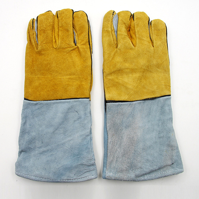 O novo 2016 guantes trabajo 38 cm luvas de soldadura luvas de couro amarelo pálido um espessamento de luvas mecânico puncture-proof corte