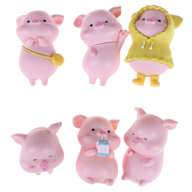 Home Decor Mini Cute Pig Figurine Animal Model Resin Craft Moss Micro Landscape Miniature Fairy Garden Decoration Accessories 1